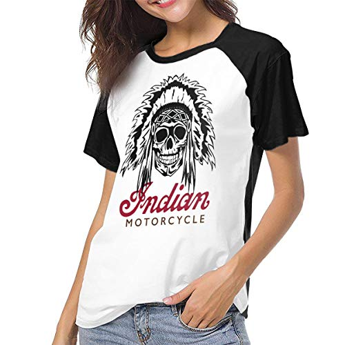 - Fional Womens Raglan Baseball T-Shirt Indian-Motorcycle Printed Crew Neck Casual Tee Tops Black