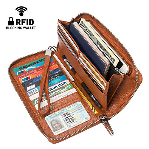(4YOUALL Women's RFID Blocking Large Checkbook Wallet Real Leather Clutch Wristlets Zip Around Travel Wallets Purse (Brown))