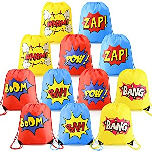 Superhero-Party-Supplies-Favor-Bags-Drawstring Backpack 12 Pack Cinch Bag Bulk for Kids Girls Boys Birthday Gifts Yellow Blue Red