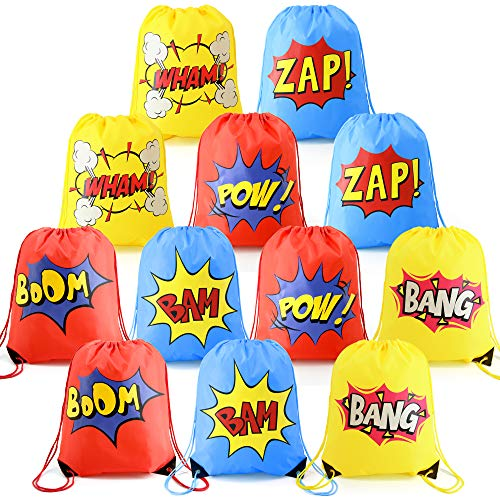 Superhero-Party-Supplies-Favor-Bags-Drawstring Backpack 12 Pack Cinch Bag Bulk for Kids Girls Boys Birthday Gifts Yellow Blue Red -