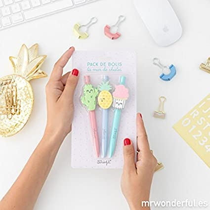 Mr. Wonderful ME2019K - Pack de bolígrafos la mar de chulos