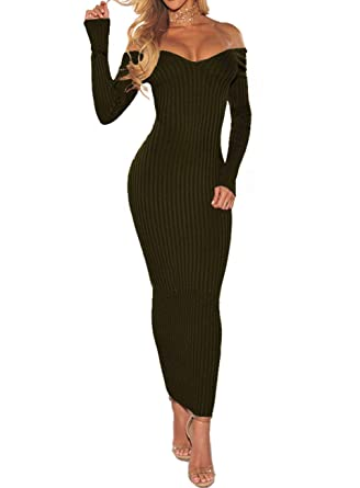 83877da7b19 SheKiss Women s Off Shoulder Long Sleeves Bodycon Sweater Dress Sexy Knit  Slim Cardigans Army Green