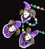 Purple Jester Ladies Porcelain Ornament Mardi Gras Necklace New Orleans