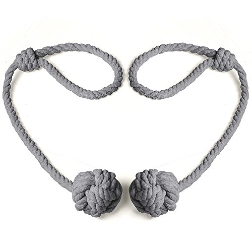 Cord Backs Tie (BUZIO 1 Pair Blackout Curtain Rope Tieback, Hand-knitted Cord Rustic Cotton Holdbacks - Easy Knot Loop Connection, Gray)