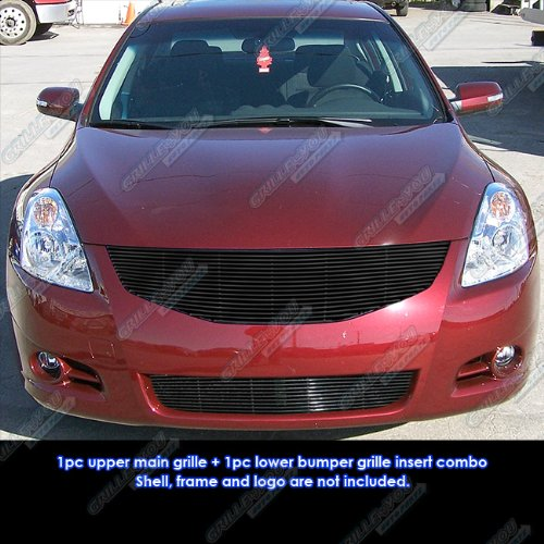 Fits 10-12 Nissan Altima Sedan Black Billet Grille Combo #N81057H