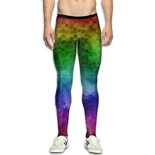 a4a88c5d5a0eaa Rainbow colorful Warmth Compression Pants/Running Tights Panel Leggings Men  Female Zipper