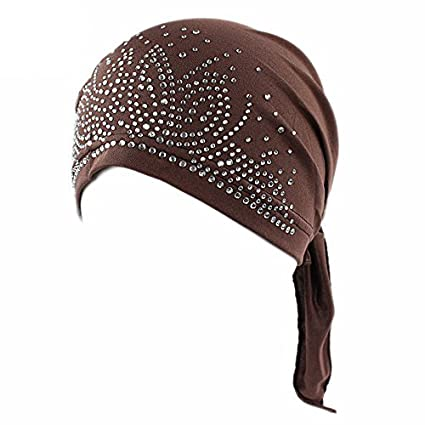 Ever Fairy® Crystal Printing Pleated Chemo Cap for Women Turban Hats SAD2521965A