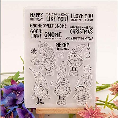 Welcome to Joyful Home 1pc Gnome Sweet Merry Christmas Clear Stamp for Card Making Decoration and Scrapbooking