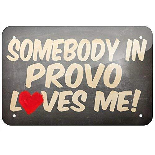 - Jacksoney Tin Sign New Aluminum Somebody in Provo Loves Me Utah 11.8 x 7.8 Inch