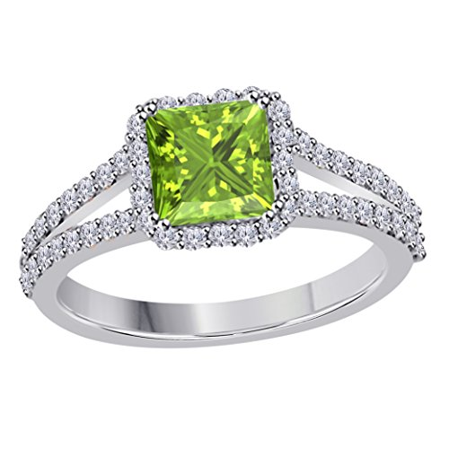 (2.00 Ct Princess Cut Halo Pave Eternity Lab Created Green Peridot & White CZ Twist Shank Engagement Ring in 14k White Gold Plated Size 4-12)