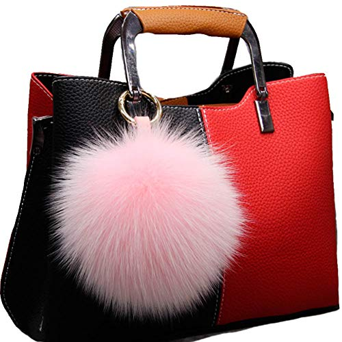 Valpeak 5'' Fur Ball Keychain Fox Fur Pom Pom Keychain Fluffy Fur Keychain Balls (Pink)]()