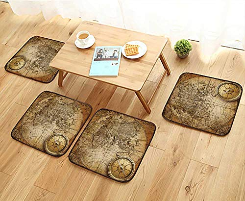 Jiahonghome Home Chair Set Old Compass and Rope on Vintage map Machine-Washable W21.5 x L21.5/4PCS Set ()