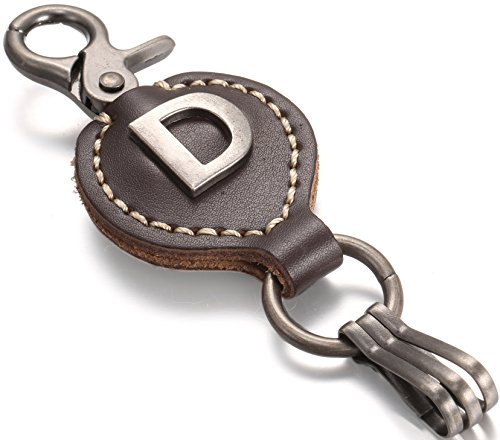 Brown Leather Alphabet Keychain, Single Letter with Easy Clasp Key - by Marino Ave - D - onesize