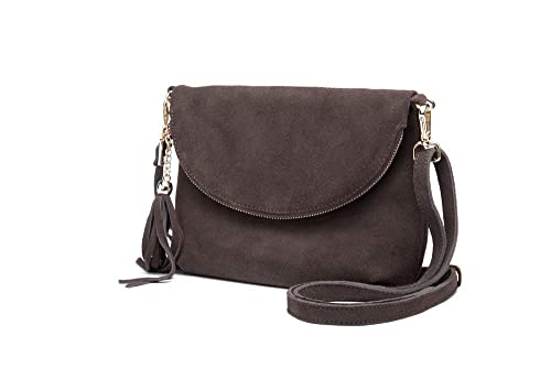 Woodland Leather Brown Fold Over Suede 10.0 quot  Clutch Style Bag f33ad4d46e13a