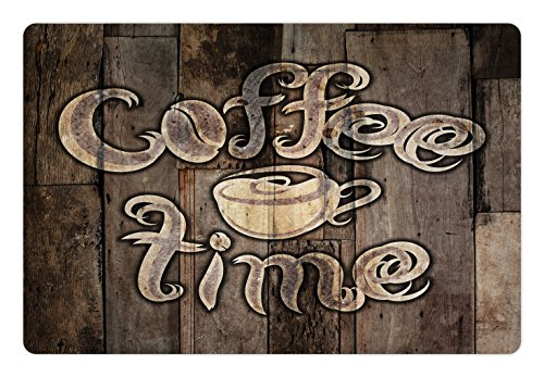Ambesonne Modern Pet Mat for Food and Water, Coffee Time Phrase with a Cup on a Wooden Grunge Background Kitchen Image, Rectangle Non-Slip Rubber Mat for Dogs and Cats, Umber Cream Cocoa