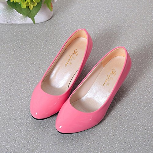 Inkach Womens Heeled Shoes - Ladise Classic Shallow Mouth Toe Casual Office Work Low Heel Shoes Pink rnf5v
