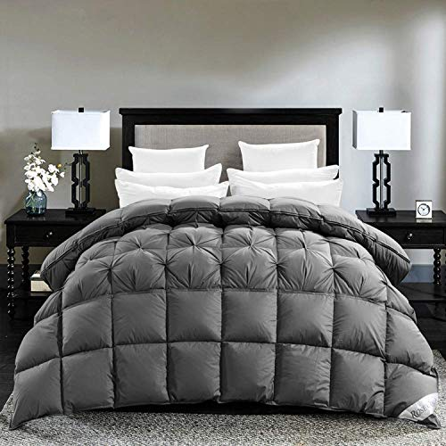 ROSECOSE Luxurious Goose Down Comforter Queen Size Duvet Insert Pinch Pleat Splicing 1200 Thread Count 750+ Fill Power 100% Cotton Shell Down Proof with Tabs (Queen,Gray,Pinch Pleat Splicing)