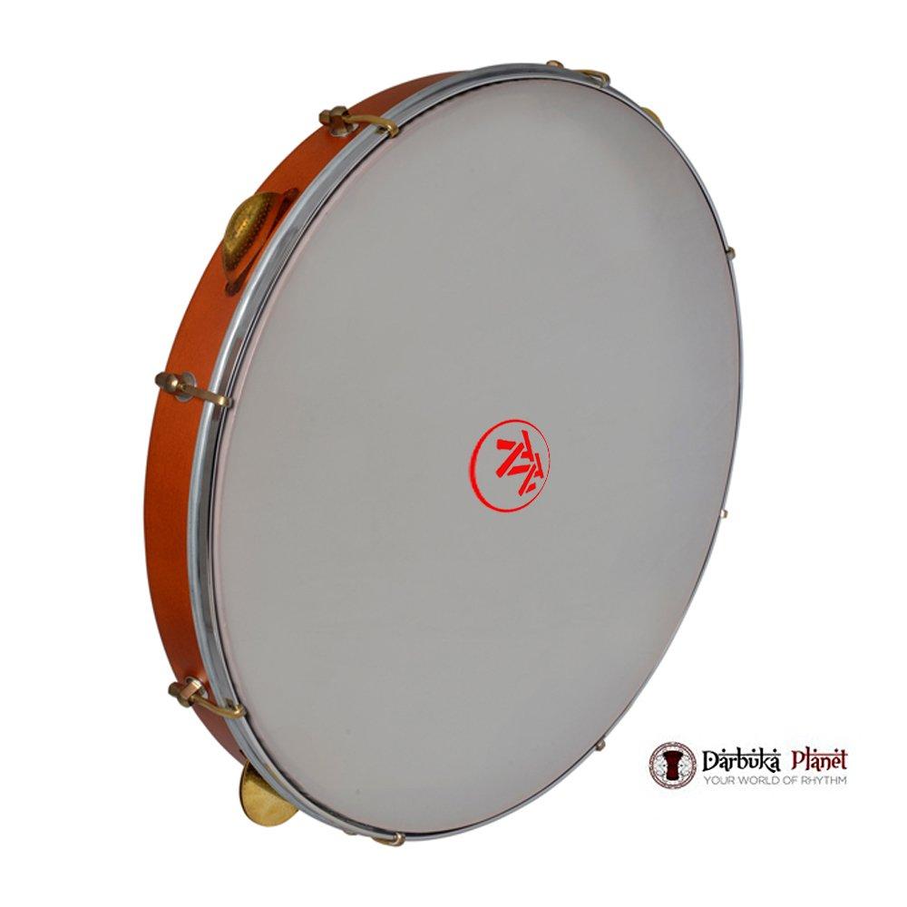 The 18'' Wood Riq Bandir Dof Zaza Percussion Professional - 8 Cymbals