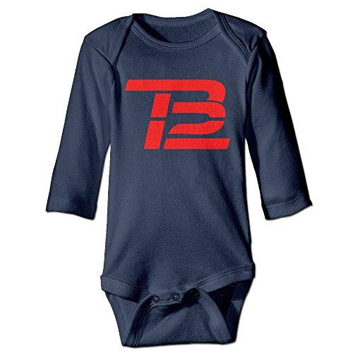 [Newborn Tom Brady TB Logo Long Sleeve Romper Bodysuit Outfits Navy 24 Months] (Dwayne Johnson Baby Costume)