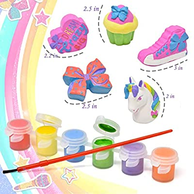 Jojo Siwa Paint Your Own Figurines, Decorate Your Own Painting Set, Includes 5 Jojo Siwa Figurines, 6 Pots of Paint, Complete Plaster Craft Kit for Kids: Toys & Games