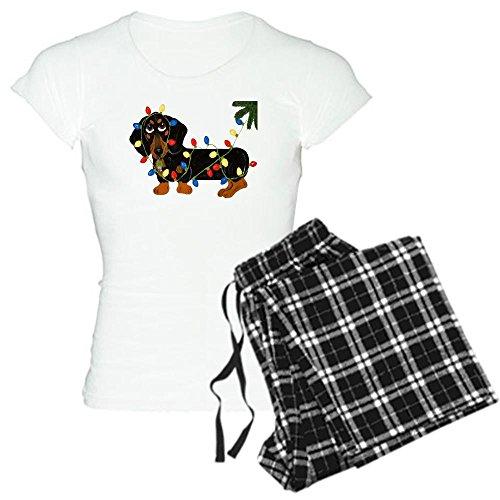 CafePress Dachshund (Blk/Tan). Women's Light Pajamas - Womens Novelty Cotton Pajama Set, Comfortable PJ Sleepwear (Dachshund Christmas Pajamas)