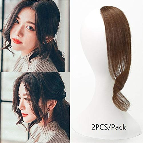 Dsoar 2PCS Wave Side Bangs Real Human Hair Clip In Bangs Curly Fringe Hair Extensions(Light Brown Color)