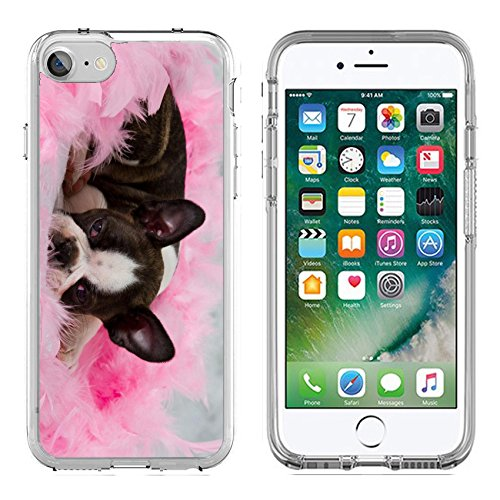MSD Apple iPhone 7/iPhone 8 Clear case Soft TPU Rubber Silicone Bumper Snap Cases iPhone7/8 IMAGE 19451271 Boston terrier puppy sleep among pink feathers tired