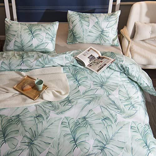 Aqua Leaves - TEALP Duvet Cover Pillow Shams Cases Tropical Beddding Set 1800 Thread Count Microfiber Hotel Luxury Soft Breathable Home Deco 3pcs No Comforter No Sheet Green Palm Leaves,Queen
