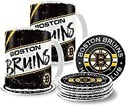 Boston Bruins 15oz Classic 2 Pack Mug Set with 8 Pack Coasters