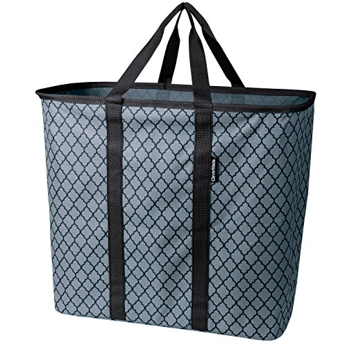 (CleverMade Collapsible Laundry Basket, Large Foldable Clothes Hamper Bag, SnapBasket LaundryCaddy CarryAll Pop Up Storage Tote, Charcoal/Black Quatrefoil)