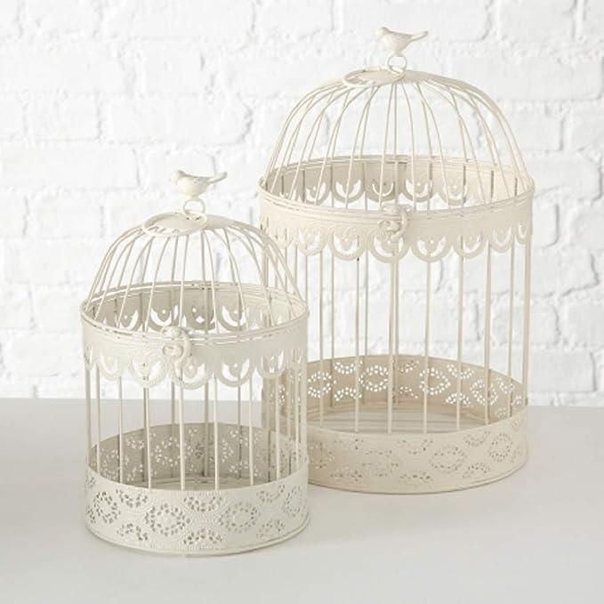 Home Collection Juego de 2 jaulas decorativas de metal, 30-39 cm, color crema