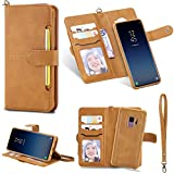 DAMONDY Galaxy S9 Case, Detachable 2 in 1 Cover Stand Wallet Purse Card Slot ID Holders Design Flip Cover Pocket Purse Leather Magnetic Protective for Samsung Galaxy S9 (2018)-brown