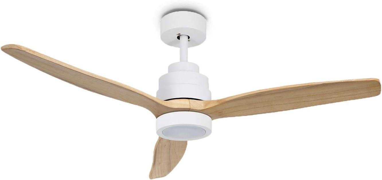 IKOHS WINDLIGHT White - Ventilador de Techo 40W DC Reverse con Luz (Madera Natural)
