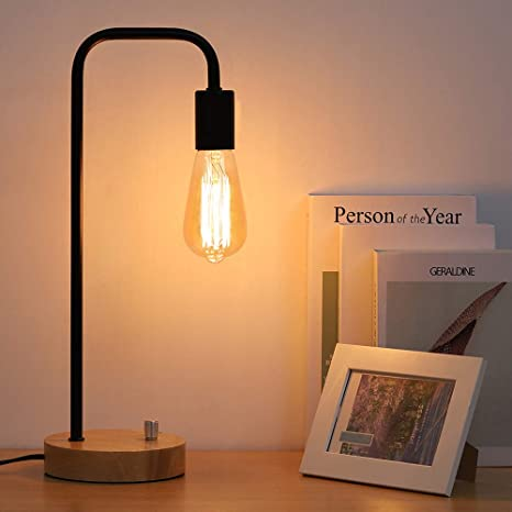 Industrial Table Lamp Vintage Night Stand Lamp Minimalist Wood Desk Lamp For Bedroom Living Room Coffee Table Office College Dorm