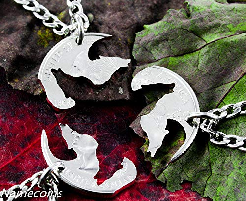 3 Best Friend Wolf Necklaces, Three piece Interlocking friendship jewelry, hand cut coin by NameCoins