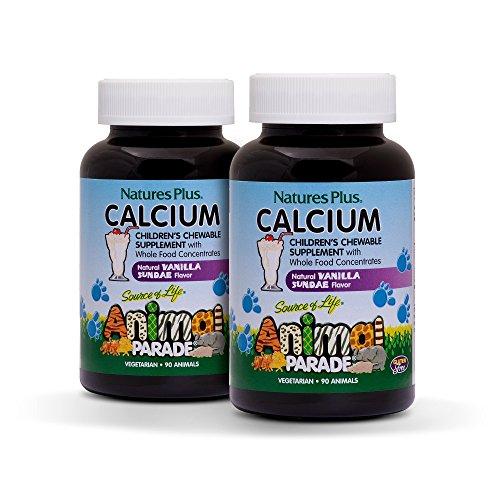 (Natures Plus Animal Parade Sugar-Free Childrens Calcium Supplement (2 Pack) - Vanilla Sundae Flavor - 90 Chewable Animal Shaped Tablets - Magnesium for Bone Health - Gluten Free - 45 Servings)