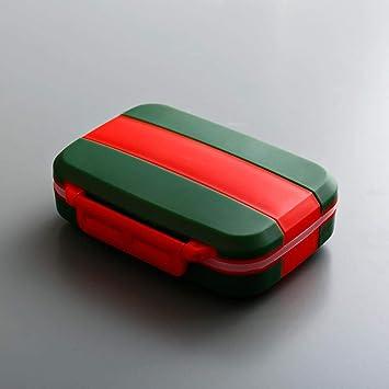 Ahuike - Pastillero portátil de dos colores para pastillas, una semana, caja de almacenamiento para píldoras pequeña, portátil, de viaje: Amazon.es: Salud y cuidado personal