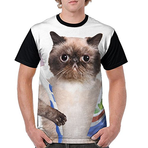 ZhiqianDF Mens Brushing Teeth Cat Leisure Outdoor Black Shirt S Short Raglan - Sixers Pack Family