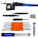 Soldering Iron Kit, ZOTO 60W 110V Adjustable Temperature Welding Tool with Carry Bag, 5 Soldering Tips, Desoldering Pump, 2 Tweezers, Tin Wire Tube, 6 Soldering Tools, Iron Stand with Cleaning Sponge