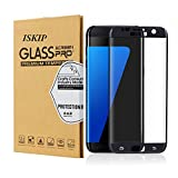 ISKIP Screen Protector for Samsung Galaxy S7 Edge, Tempered Glass 4D Curved Full Coverage Film HD Ultra Clear 9H Hardness Screen Protector for Samsung Galaxy S7 Edge [Not S7]-Black