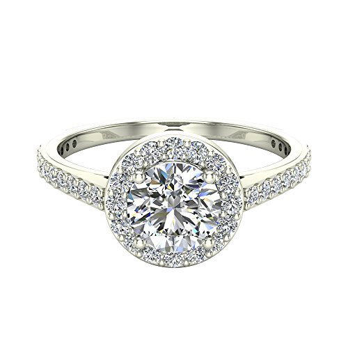 Round Brilliant Cut Diamond Dainty Halo Engagement Ring 1.15 carat total 14K White Gold (Ring Size (Glitz Design)
