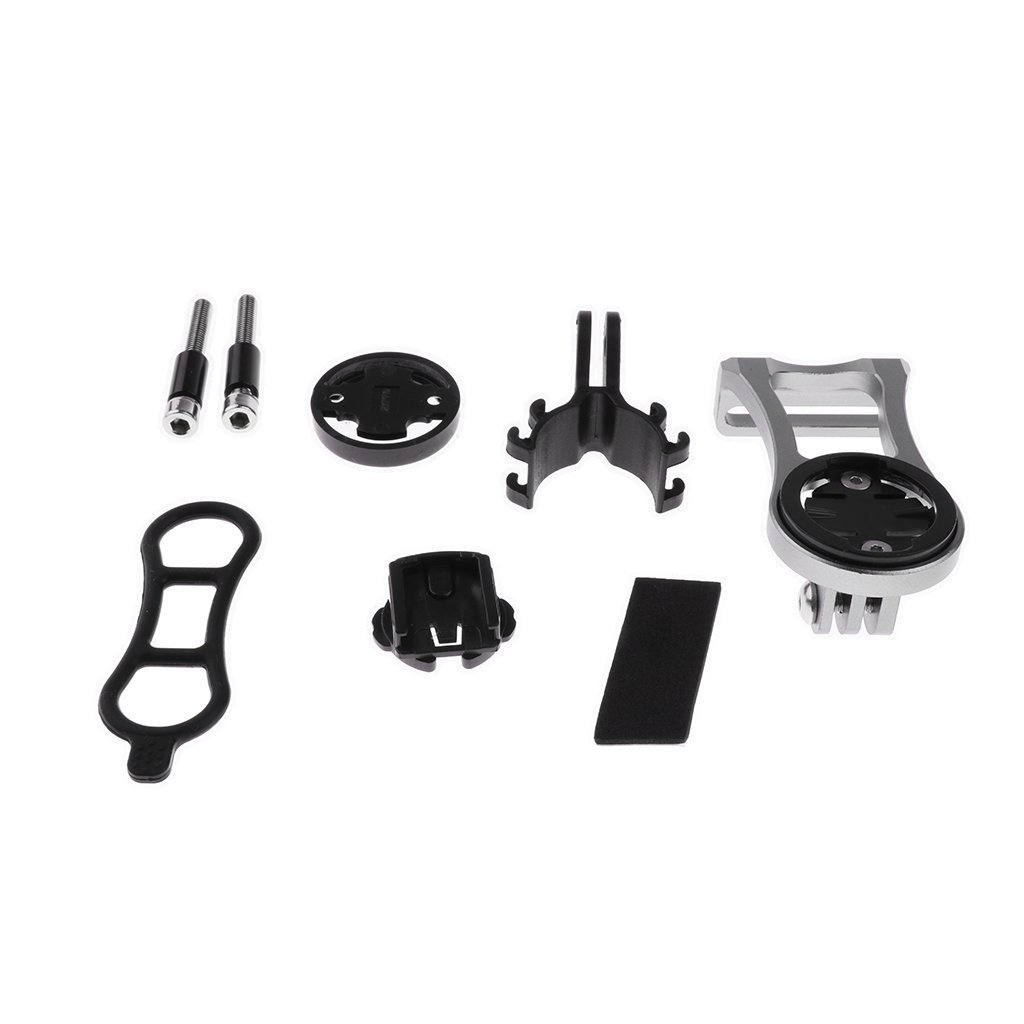 iraintech 1 Set Aluminium Bike Stem Extension Adjustable Mount Adapter Set for Garmin Computer Edge GPS (silver)