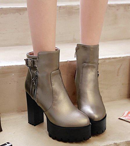 Mee Shoes Damen kurzschaft Reißverschluss Plateau chunky heels Stiefel Taupe