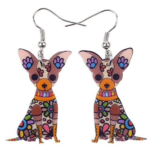Bonsny Acrylic Drop Chihuahuas Dog Pets Earrings Funny Design Lovely Gift For Girl Women Fashion Jewelry (Brown)