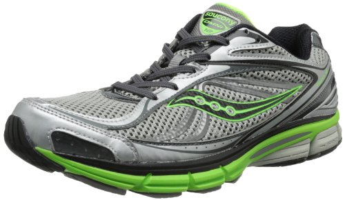 Saucony Men's Omni 12 Running Shoe,Silver/Green/Black,12 M US