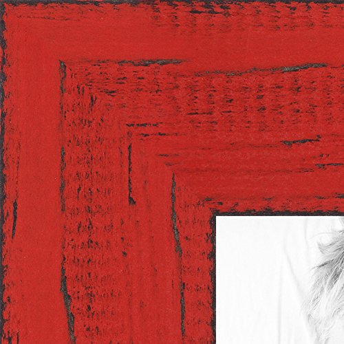 - ArtToFrames 24x36 inch Weathered Barnwood in Saturated Red Wood Picture Frame, WOMSM-ECO150-RED-24x36