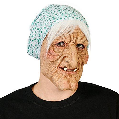 Evil Granny Adult Mask (Wig Halloween Costume Mask)