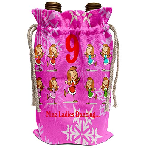3dRose Edmond Hogge Jr - 12 Days Of Christmas Nine Ladies Dancing. - Wine Bag (wbg_158234_1)