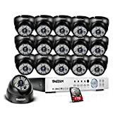 TMEZON 16-Channel HD DVR Security System with 16 2MP IR Outdoor Weatherproof Dome Cameras 1TB Hard Drive and Remote Surveillance