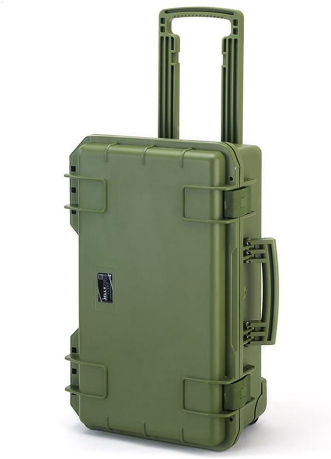 Maleta rígida con espuma protectora grande con ruedas (56 cm. de largo x 35,8 cm. de ancho x 23 cm. de altura) (Verde)